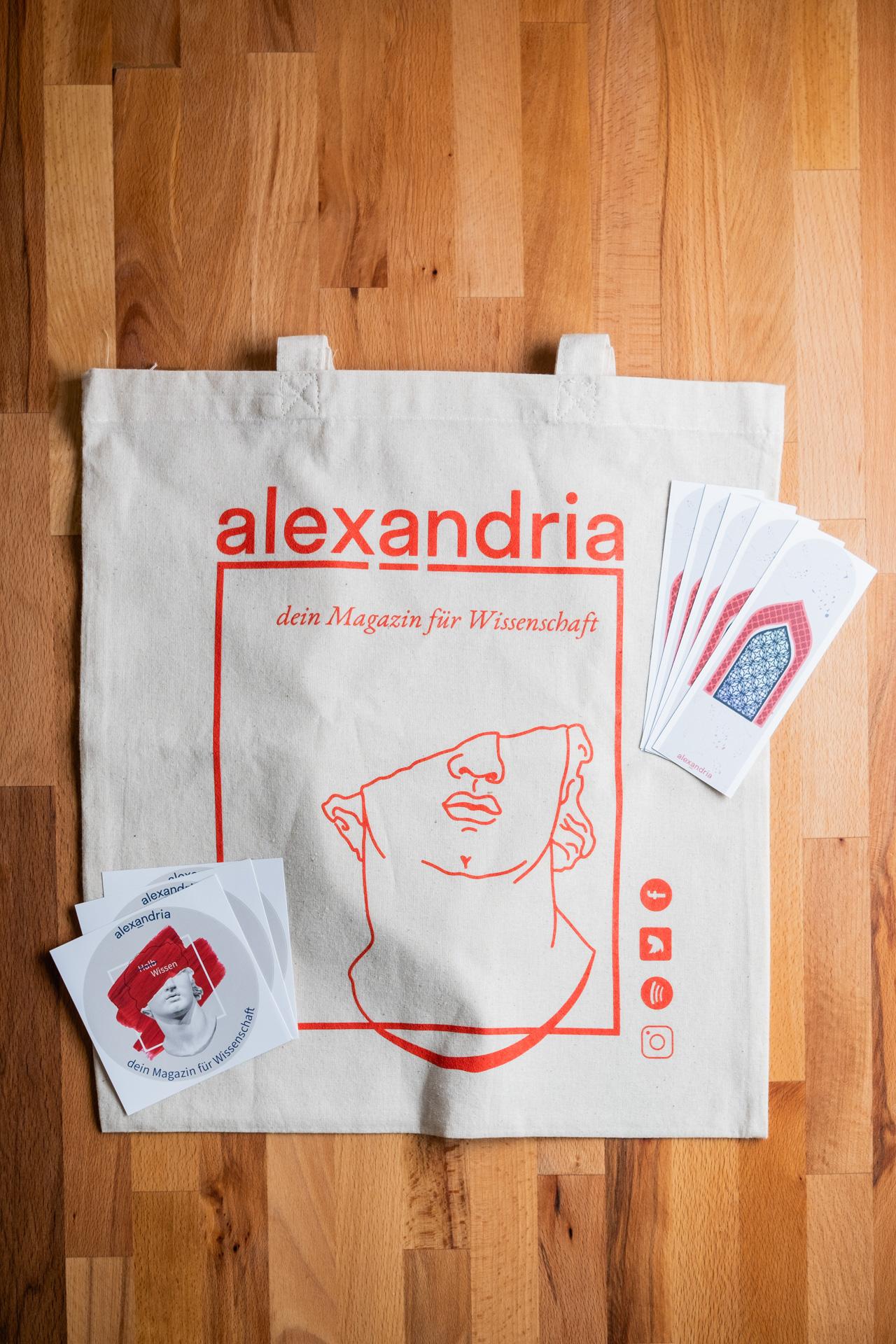 Baumwolltasche, Lesezeichen und Sticker von alexandria