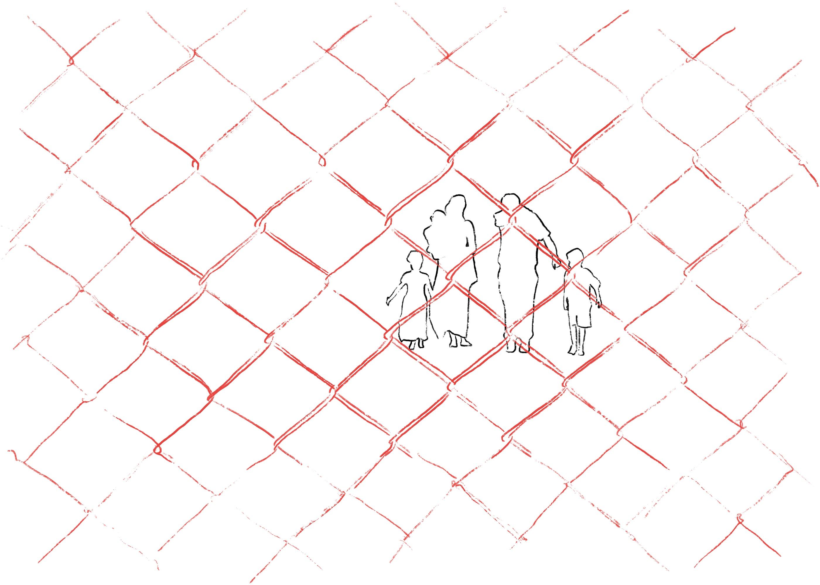 Eine Flüchtlingsfamilie hinter einem Grenzzaun