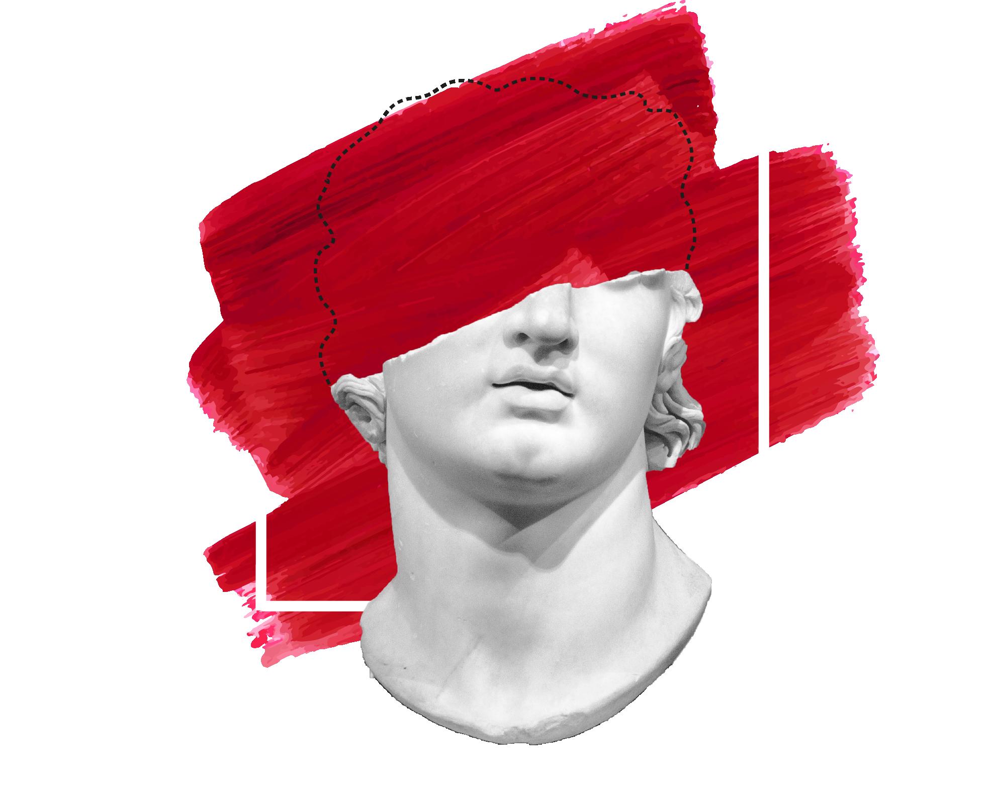 Statue mit roter Farbfläche und Rahmen